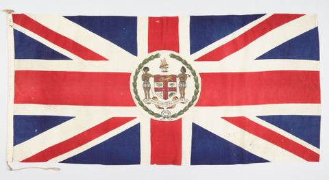 FE012735; Union Jack flag with Fijian crest; circa 1908; Fijian; Unknown ; view 1 (image/tiff)
