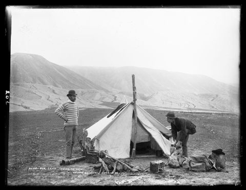 "C.010708; ""Our camp"", near Te Ariki, after eruption June 10 1886; 1886; Burton Brothers (image/tiff)"