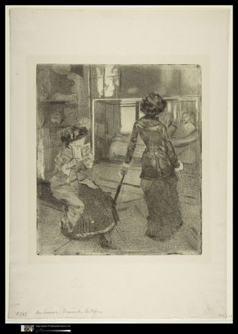 Edgar Degas (1834–1917), <EM>Mary Cassatt at the Louvre: The Etruscan Gallery; Mary Cassatt au Louvre, Musee des Antiques</EM>, 1879–80, softground etching, drypoint, aquatint, and etching; third state of nine, 268 x 232 mm (plate), 432 x 305mm (sheet), The Metropolitan Museum of Art, Rogers Fund, 1919 (19.29.2) Image copyright © The Metropolitan Museum of Art. Image source: Art Resource, NY