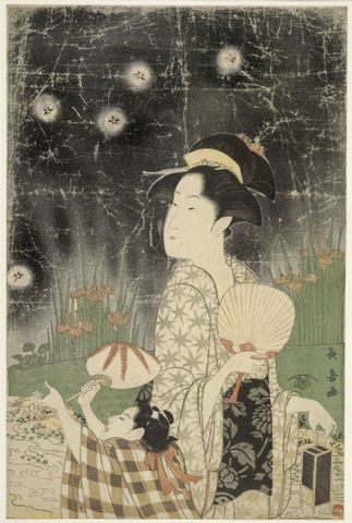 Eishoshai Choki, <EM>Woman and child catching fireflies</EM>, about 1793, Ukiyo-e woodblock print, 382 x 250 mm, British Museum, bequeathed by Oscar Charles Raphael, 1945, (1945,1101,0.44) Image © Trustees of the British Museum