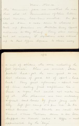 George Leslie Adkin diary entry Monday 10 November 1913