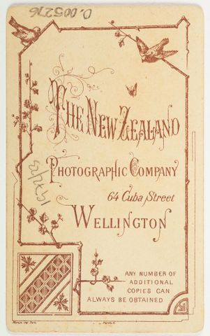 Back of a photograph featuring birds and the text The New Zealand Photographic Company 64 Cuba St Wellington