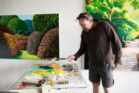 Karl Maughan in his Mt Victoria studio, Wellington, August 2013. Photograph by Michael Hall, Te Papa