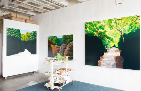 Karl Maughan's Mt Victoria studio, Wellington, August 2013. Photograph by Michael Hall, Te Papa