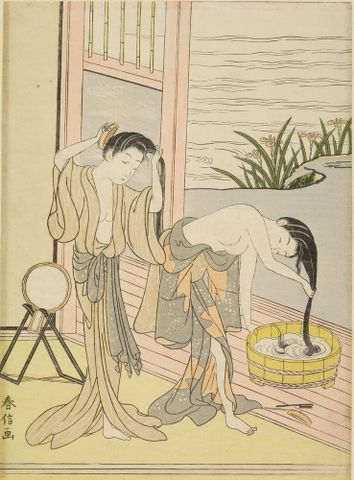 Suzuki Harunobu, <EM>Two women washing their hair</EM>, about 1767–1768, ukiyo-e woodblock print in 'chûban' format; ink and colour on paper, with printed signature reading 'Harunobu ga', 270 x 198 mm, Harvard Art Museums/Arthur M. Sackler Museum, Gift of the Friends of Arthur B. Duel, 1933.4.2604 Photograph: Imaging Department © President and Fellows of Harvard College