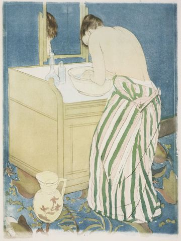 Mary Cassatt, <EM>Woman bathing</EM>, about 1891, drypoint, aquatint, and soft-ground etching in colour, 362 x 267 mm (platemark), 437 x 301 mm (sheet), Museum of Fine Arts, Boston, Gift of William Emerson and The Hayden Collection—Charles Henry Hayden Fund, 41.810 Photograph © 2013 Museum of Fine Arts, Boston