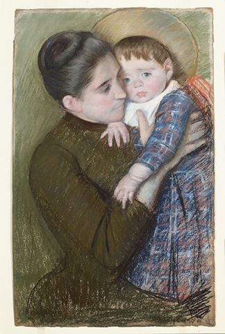 Mary Cassatt, <EM>Woman with her Child</EM>, 1889/1890, pastel on beige paper, The Louise Crombie Beach Memorial Fund Photograph courtesy of the William Benton Museum of Art, University of Connecticut, Storrs, Connecticut
