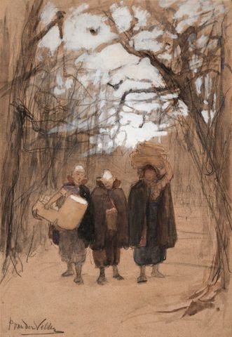 Petrus van der Velden, <EM>Three figures in a landscape</EM>, about 1874, charcoal, crayon, and gouache, 364 x 254 mm, Auckland Art Gallery Toi o Tamaki, 1964/22, gift of Morris and Ronald Yock, in memory of their father, 1964 Permission of Auckland Art Gallery Toi o Tamaki must be obtained before any re-use of this image