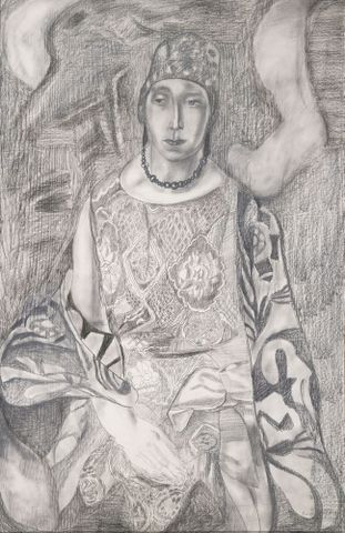 Frances Hodgkins, <EM>Seated woman</EM>, about 1925–30, graphite and chalk on paper, 940 x 597 mm (support), 1052 x 710  x 46 mm (frame), Tate, purchased 1948, N05857 Image © Tate, London, 2013