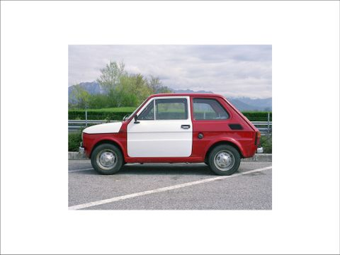Simon Starling, <EM>Flaga</EM> (one print of five), 1972-2000, a Fiat 126 produced in Turin, Italy, in 1974 and customised using parts manufactured and fitted in Poland, following a journey of 1290km from Turin to Cieszyn, 2002, 5 C-type prints, 790 x 1040 x 45 mm each, production photographs Courtesy of the Artist and The Modern Institute/Toby Webster Ltd, Glasgow Photograph by Simon Starling