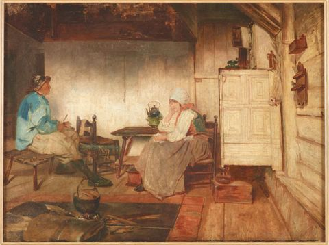 Interior of a Marken fisherman's cottage, circa 1871, Dordrecht, by Petrus van der Velden. Gift of the New Zealand Academy of Fine Arts, 1936. Te Papa (1936-0012-119)