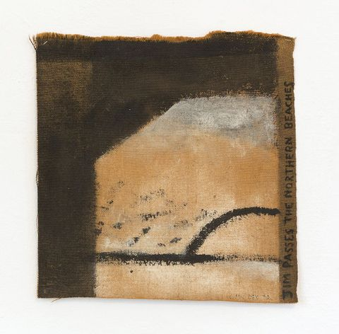 Colin McCahon, <EM>Jim passes the northern beaches</EM>, 1972, acrylic on hessian. Private collection. Reproduced with the kind permission of the Colin McCahon Research and Publication Trust. Photograph courtesy Peter McLeavey Gallery.