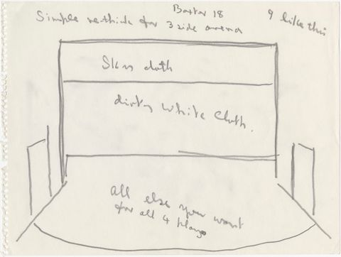 Colin McCahon, stage design 'Baxter 18' for the 'James K. Baxter Festival 1973: Four Plays', 1973, pencil on paper. Hocken Collections, Uare Taoka o Hakena, University of Otago (Misc-MS-0517/002). Reproduced with the kind permission of the Colin McCahon Research and Publication Trust.
