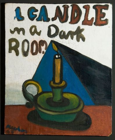 Colin McCahon, <EM>A Candle in a dark room</EM>, 1947, oil on board, 380 x 310 mm. Auckland Art Gallery Toi o Tāmaki L1998/28/99, on loan from a private collection. Reproduced courtesy of the Colin McCahon Research and Publication Trust. Permission of Auckland Art Gallery Toi o Tāmaki must be obtained before any re-use of this image.