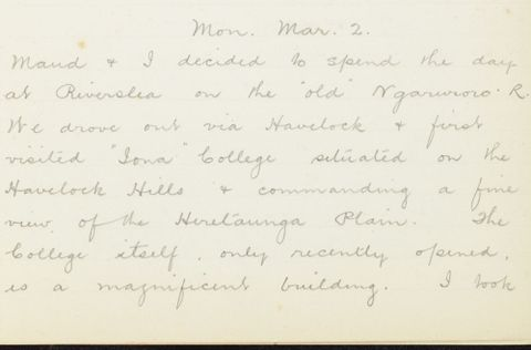 George Leslie Adkin diary entry Monday 2 March 1914