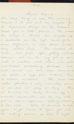 George Leslie Adkin diary entry Thursday 5 March 1914