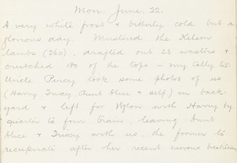 George Leslie Adkin diary entry Monday 22 June 1914
