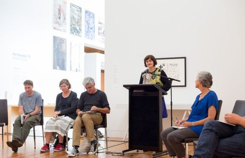 Ashleigh Young reading at the McCahon Series: Poetry Reading. Photograph by Michael Hall, Te Papa, 2014