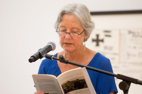 Dinah Hawken reading at the McCahon Series: Poetry Reading. Photograph by Michael Hall, Te Papa, 2014
