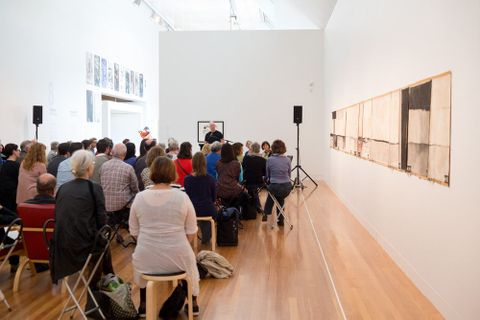 Bill Manhire reading at the McCahon Series: Poetry Reading. Photograph by Michael Hall, Te Papa, 2014