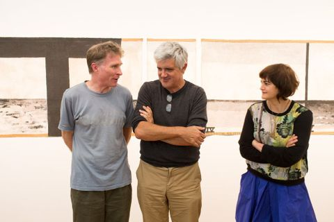 James Brown (left) with Gregory O'Brien and Ashleigh Young at the McCahon Series: Poetry Reading. Photograph by Michael Hall, Te Papa, 2014