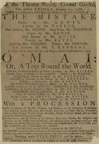 Playbill for <EM>Omai or A trip round the world</EM>, National Library of Australia, 1785-6