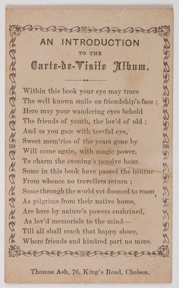 PE000108 An Introduction To The Carte De Visite Album 1860s