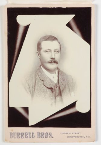 O.041073; Man set in trompe d'oeil frame; circa 1895; Burrell Brothers ; Recto (image/tiff)