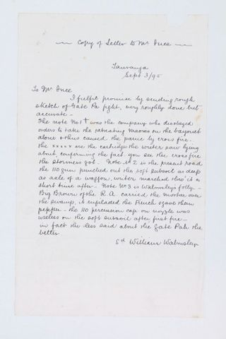 Copy of letter to Mr Ince from William Walmsley relating to sketch of Gate Pa fight, 03.09.1895. Walmsley, William. Te Papa