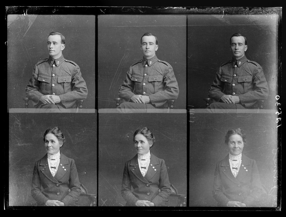 Three portraits each on one negative of William Horace James and Gertrude Miriam James - Museum of New Zealand Te Papa Tongarewa