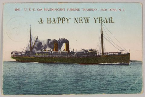 Postcard, USS Co Maheno, 3 January 1909, Dunedin, by Muir & Moodie studio. Purchased 2009. Te Papa (PH000709/43)
