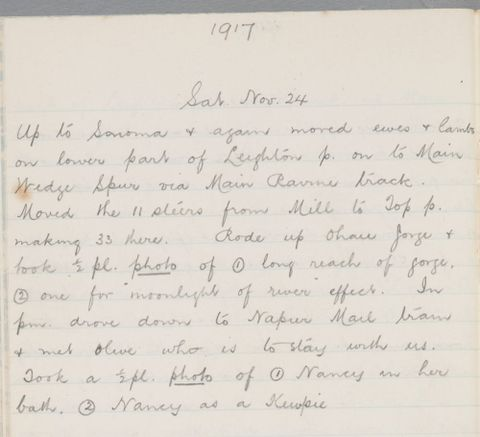 George Leslie Adkin diary entry Saturday 24 November 1917