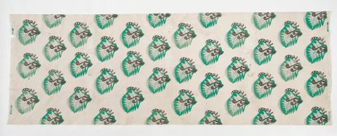Fabric designed by May Smith, hand blocked by Helen Hitchings, about 1949. Te Papa