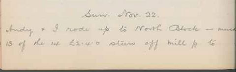 George Leslie Adkin diary entry Sunday 22 November 1914