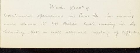 George Leslie Adkin diary entry Wednesday 9 December 1914