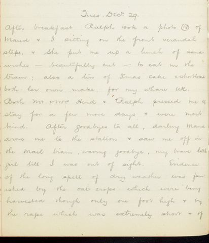 George Leslie Adkin diary entry Tuesday 29 December 1914
