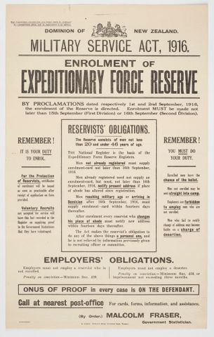 Poster detailing enrolment procedure for Expeditionary Force Reserve, 1916, GH017655. Te Papa
