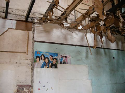 A research image of the inside of a demolished shikumen/tenament apartment in downtown Shanghai, shot during the WARE Residency in 2009. Photograph by Kerry Ann Lee.