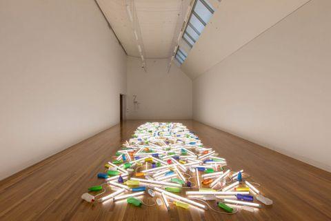 Artist Bill Culbert installing <EM>Daylight flotsam Venice</EM> (2013) and <EM>Drop</EM> (2013) at Te Papa