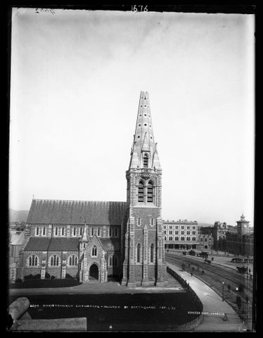 C.011676; Christchurch Cathedral, injured by earthquake, September 1, 1888; 1888; Burton Brothers (image/tiff)
