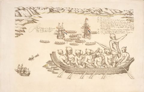 Isaac Gilsemans, <EM>A view of the Murderers' Bay, as you are at anchor here in 15 fathom</EM>, 1642. Alexander Turnbull Library PUBL-0086-021
