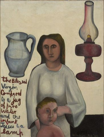 Colin McCahon, <EM>The virgin & child compared</EM>, 1948, oil, canvas on board. Hocken Collections, Uare Taoka o Hakena, University of Otago, 73/169, 2013