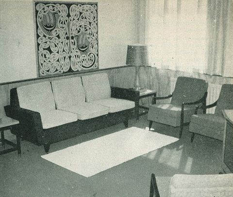 Sir David Henry's room in the new administration block for New Zealand Forest Products Ltd, designed by John Crichton, from  from <EM>Home & Bulding</EM> magazine, January 1959