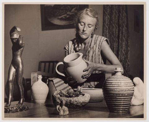 Helen Hitchings with work by Margaret Garland, R.N. Field, Timaru Potteries to Hitchings design, first work of Leonard Castle