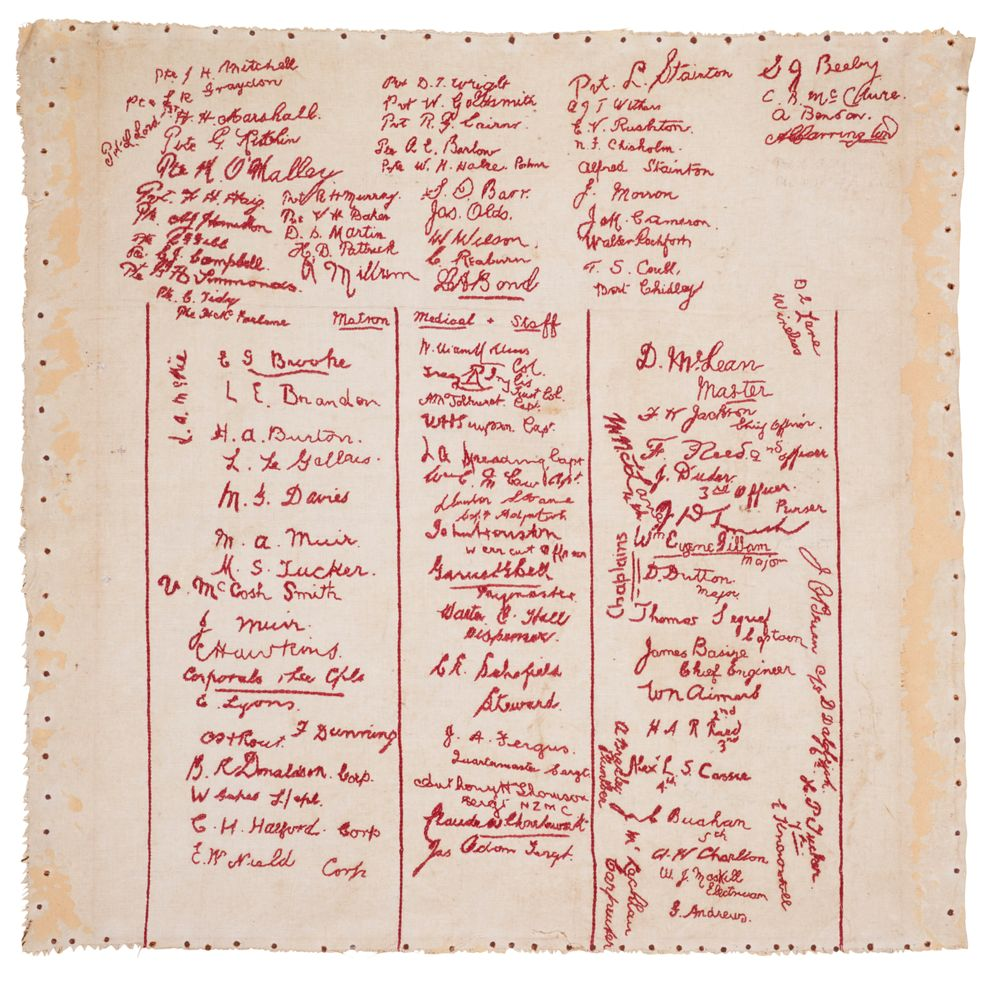 GH017818; Linen cloth, embroidered with the names of medical staff, nurses and crew of H.M. New Zealand Hospital Ship 'Maheno' on her first voyage.; July-August 1915; Various