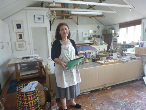 Gretchen Albrecht in her Auckland home studio. Photograph by Mary Kisler