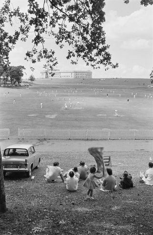 E.005444/7; Cricket match on Auckland's Domain; 1960; Brake, Brian (image/tiff)