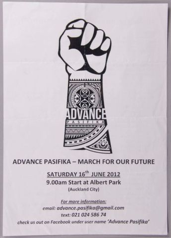 GH024414; Flier, 'Advance Pasifika'; 2012; Elika, Opeta ; view 1 (image/jpeg)