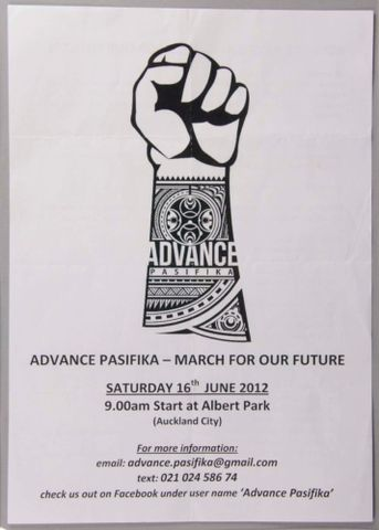 Flier, 'Advance Pasifika'