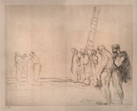Jean-Louis Forain, <em>Le Calvaire (Calvary)</em>, March 1909, etching, Purchased 2015 with Sir John Ilott Charitable Trust funds. Te Papa (2015-0056-2)